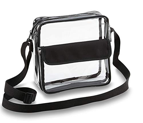Clear Crossbody Messenger Shoulder Bag with Adjustable Strap NFL Stadium Approved Transparent Purse (Black)