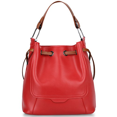 S-ZONE Women's Genuine Leather Shoulder Bucket Bag Crossbody Top-handle Purse (Red)