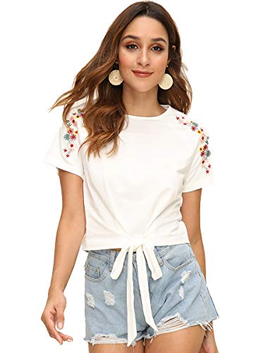 Juniors Tie - Romwe Women's Embroidered Floral Short Sleeve Tie Front Knot Casual Crop Tee T-Shirt White L