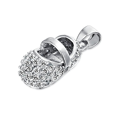 Bling Jewelry Clear CZ Baby Shoe Sterling Silver Pendant (Sterling Booties Silver)