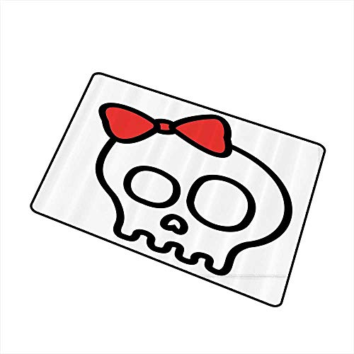 Mdxizc Entrance Door mat Skulls Decorations Collection Illustration of Baby Skull Girl with Lace and Halloween Dead Head Teen Emo Art W35 xL47 Suitable for Outdoor and Indoor use Red White Black -