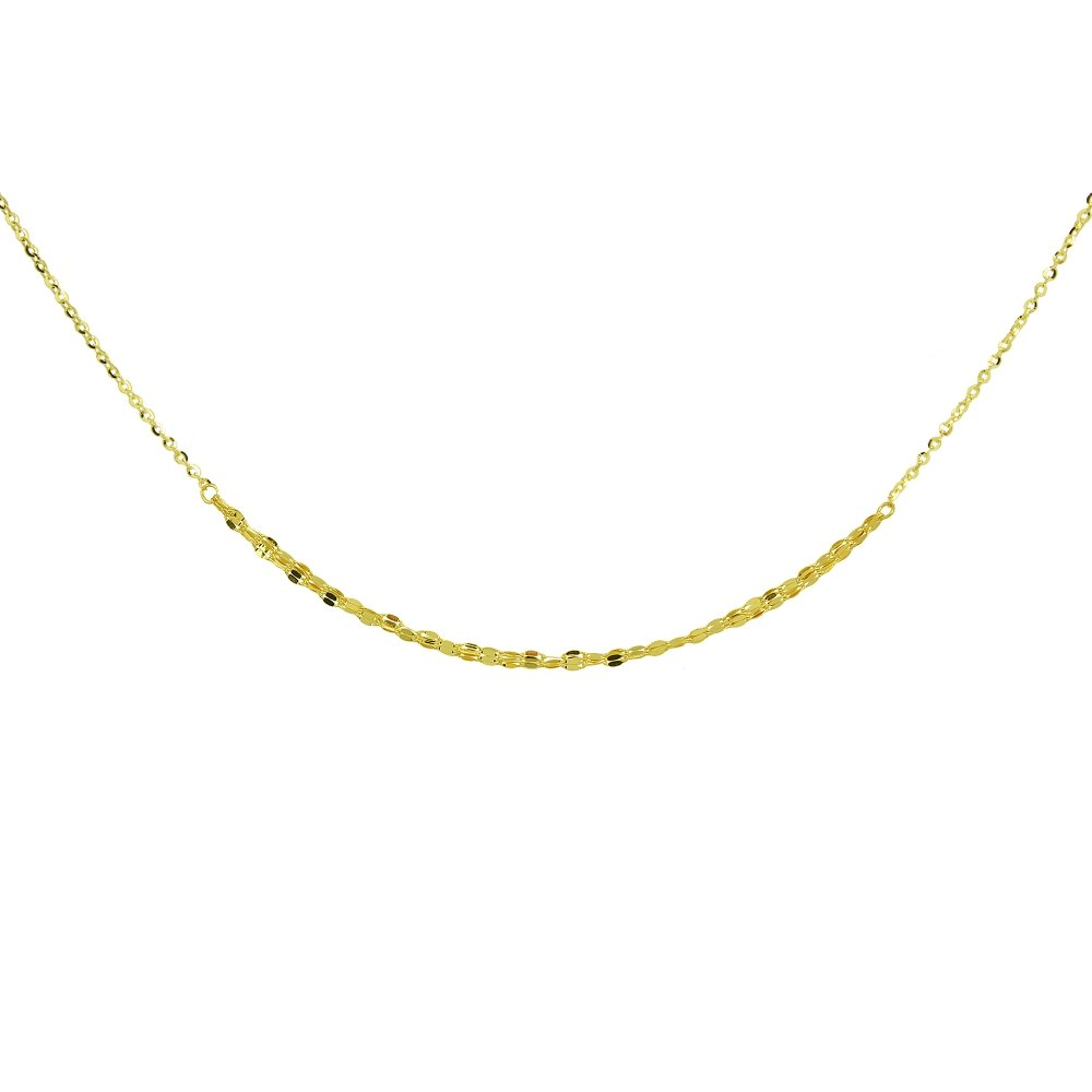 14K Yellow Gold Italian Chain Hammered Mariner Three-Layer Dainty Choker Necklace by Hoops & Loops