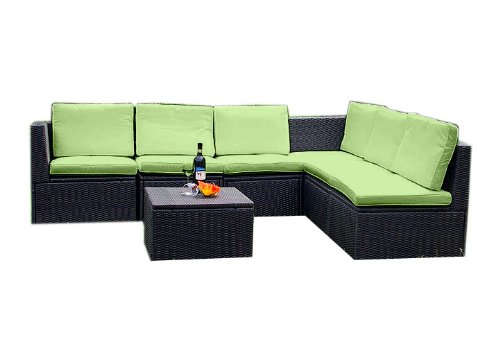 gartenm bel 7tlg sitzgruppe poly rattan lounge garten garnitur gr n g nstig online kaufen. Black Bedroom Furniture Sets. Home Design Ideas