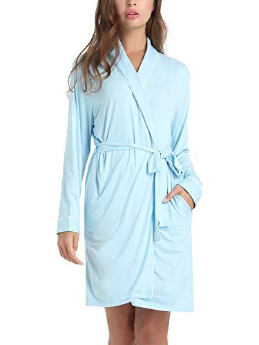 Amorbella Womens Soft Bamboo Bathrobe Loungewear Robe with Pockets(Blue,Medium)