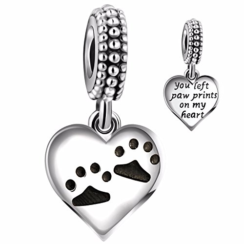 Angemiel 925 Sterling Silver Dog Paws Print Heart Love Clover Dangle Charms Bead for European Snake Chain (Paw Print Heart Charm)