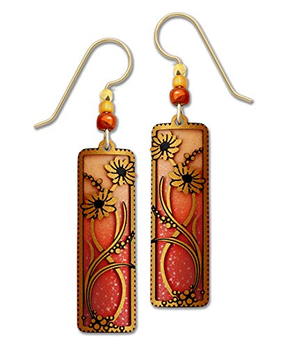 (Adajio Autumn Orange Column Earrings with Floral Overlay Hand Painted Handmade with Gift)