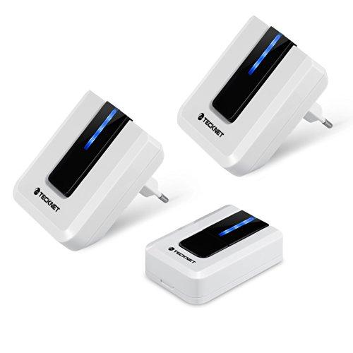 TeckNet Türklingel Portable Mobile Kabellose, 2 Empfänger 1 Sender, Kabellose Wassergeschützte Tür Klingel und Klingelknopf, mit LED Anzeige - Farbe