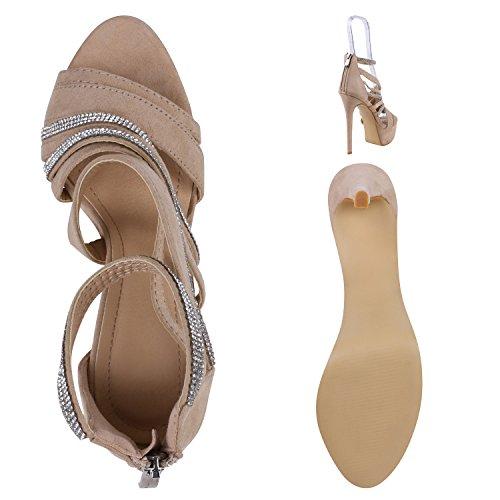 Stiefelparadies Damen Sandal Boots High Heels Schaftsandaletten Metallic Schuhe Flandell Creme Silber