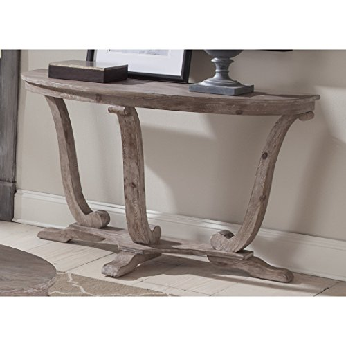 Pedestal Sofa Table, Stone White Wash with Wire Brush finish, Made of Pine Solids and Veneers, Traditional Silhouette, Rustic and Transitional Style, Casual and Refined (Wood Veneer Pedestal)