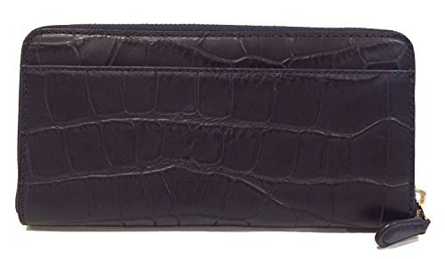 COACH Croc Embossed Leather Accordion Zip Around Wallet in Light Gold / Midnight Blue 54757
