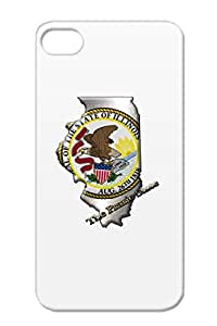 Cities Countries Free Usa Home State States Region Seal North America Shock-absorbent Silver Illinois Cover Case For Iphone 4