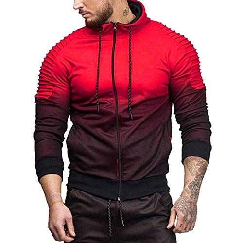 kaifongfu Coat Tops,Men's Stitching Pleated Long Sleeve Fold Hooded Top Blouse Tracksuits(Red,3XL)