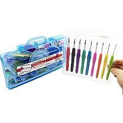 Makhry Knitting Crochet Needle Cases Crochet Hook Set,Ergonomic Grip,Crochet Hooks Crochet Starter Kit