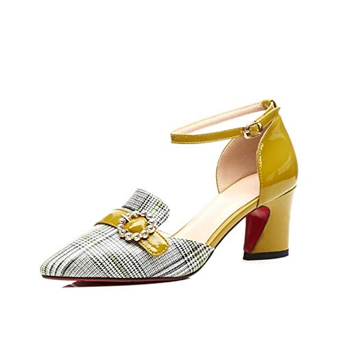Yellow Spring Yellow Zapatos ZHZNVX Nappa Mujer Leather Chunky Tacones amp; Comfort Heel de Summer 7wOqwX