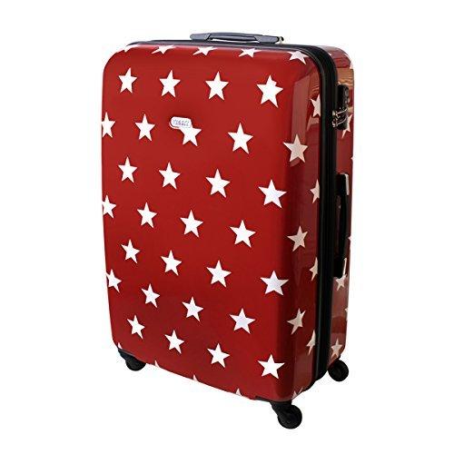 Karry Hartschalen Reise Koffer Trolley TSA Rot Sterne 820 (XXL Reise Koffer 110 Liter Rot Sterne 820)