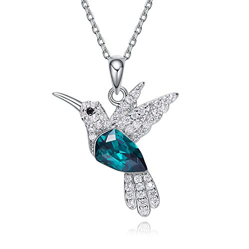 Cde Womens Necklace  Hummingbird Pendant Necklaces Sterling Silver Jewelry Crystal From Swarovski