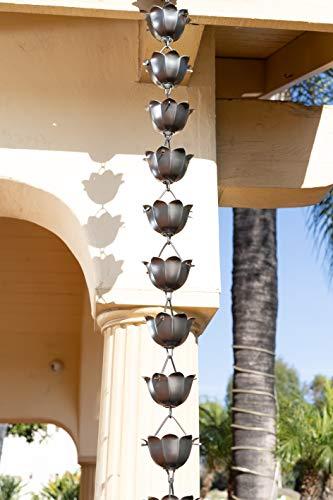 Monarch Rain Chains 18023 Aluminum Lotus Rain Chain, 8-1/2-Feet Length, Pewter by Monarch Rain Chains (Image #1)