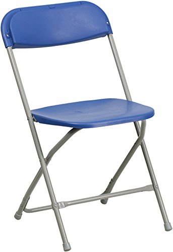 Flash Furniture HERCULES Series 550 lb. Capacity Premium Blue Plastic Folding Chair