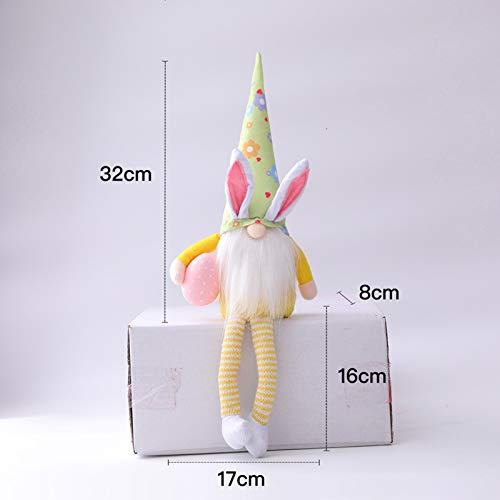 Easter Bunny Gnome with Easter Egg Plush Decorations,Handmade Knitting Gnome Faceless Dolls,Easter Gifts for Kids/Women/Men,Easter Decorations Ornaments for The Home (Multicolor -B, 2PC)