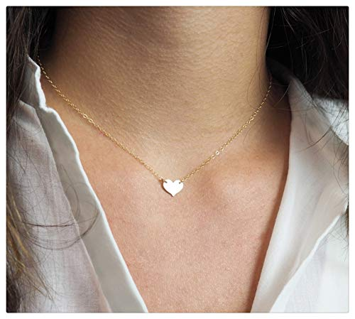 Fremttly Hand Made Necklace Simple 14K Gold Fill/Silver Plated Delicate Dainty Star and Bead Chain Chokers Necklace Thin Heart Pendant Necklace for Womens-Ne-L Heart