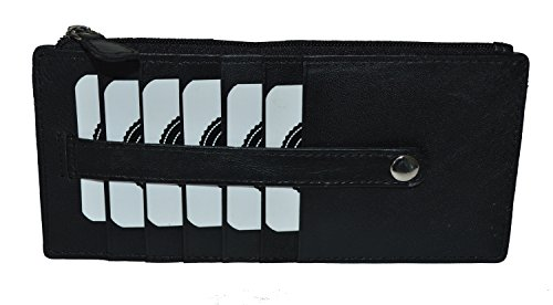 Card Outside Pocket (All in One Card Case Holder Slim Wallet With a Card Protection Strap by Leatherboss (Black))