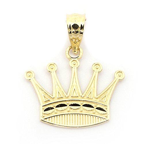 14k Gold Crown Pendant - Beauniq 14k Yellow Gold Diamond Cut Crown Pendant