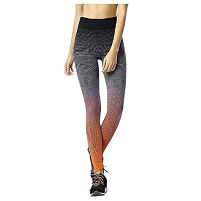 HDGTSA Women's Gradient Color Leggings High Waist Stretch Quick-Drying Running Gym Yoga Pants: Clothing