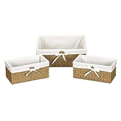 Household Essentials Seagrass Utility Baskets - Set of 3 - Large Basket dimensions:14.5L x 16W x 6H inches Small baskets (2) dimensions: 6.5L x 12W x 5.5H inches Excellent wicker craftsmanship - living-room-decor, living-room, baskets-storage - 41KSwR4SBML. SS400  -