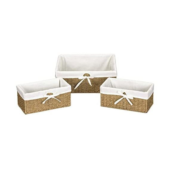 Household Essentials Seagrass Utility Baskets - Set of 3 - Large Basket dimensions:14.5L x 16W x 6H inches Small baskets (2) dimensions: 6.5L x 12W x 5.5H inches Excellent wicker craftsmanship - living-room-decor, living-room, baskets-storage - 41KSwR4SBML. SS570  -