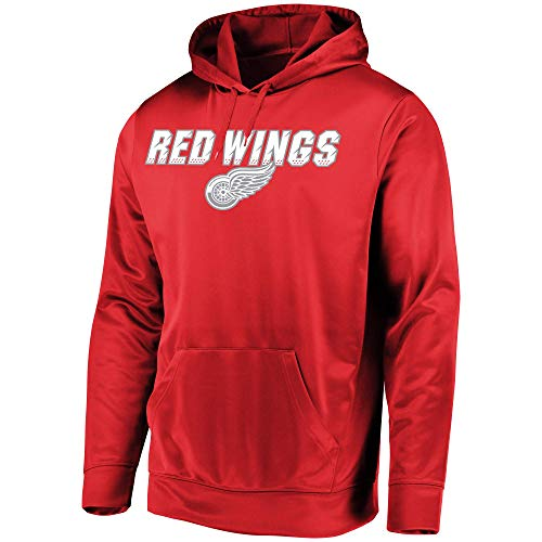 Majestic NHL Men's High Energy Performance Fleece Pullover Hoodie (Medium, Detroit Red Wings)