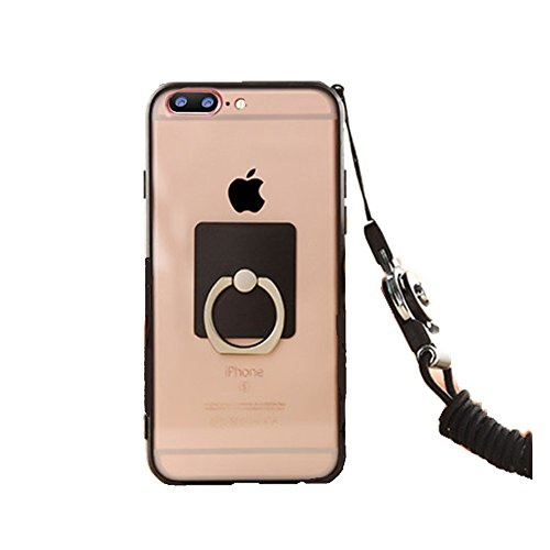 Anti-drop Protection Shell Case with Adjustable Detachable Neck Lanyard Hanging Neck Strap Lanyard and Ring Holder for Iphone (Black for iPhone 7 plus)