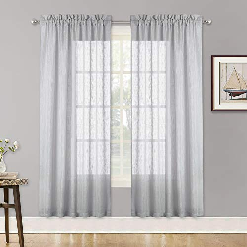 RYB HOME Linen Texture Wave Sheer Drapery for Cottage Garden, Privacy Window Sheers for Living Room, Dreamy Simi Transparent Sheer for Bathroom, Dove Grey, 52 in x 72 in per - Fabric Drapery Semi Sheer