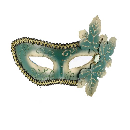 Forum Mardi Gras Costume Venetian Masquerade Half Mask With Glitter Leaves, Green/Gold, One Size