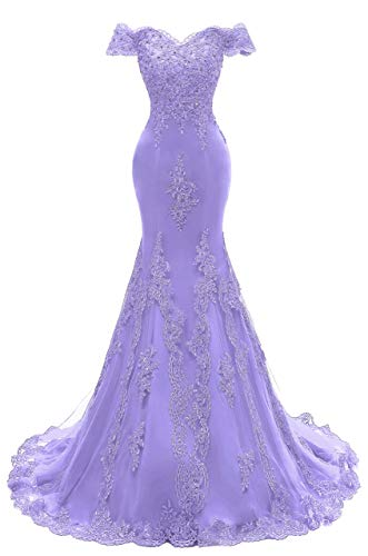 (Asoiree Women's Off Shoulder Evening Gown Lace Mermaid Beading Sequins Appliques Prom Dresses Crystal Sweetheart Sleeves Violet)
