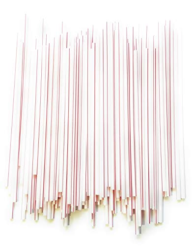 Plastic Small Straws, Stirrers, Milk Straws, Red and White Straws, UnWrapped, Small Diameter, 5 1/4 Inches Long, 1000/box