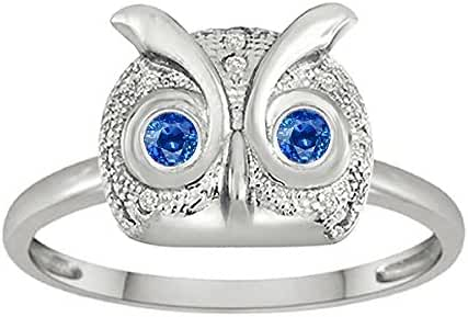 Star K Round Created Sapphire Good Luck Owl Ring
