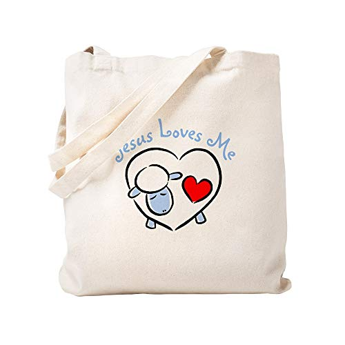 CafePress Jesus Loves Me Blue Lamb Natural Canvas Tote Bag, Cloth Shopping -