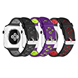 UMTELE for Apple Watch Band 42mm, Soft Silicone Replacement Band Sport Strap with Ventilation Holes for Apple Watch Nike+, Series 3, Series 2, Series 1, Sport, Edition, 3 Pack