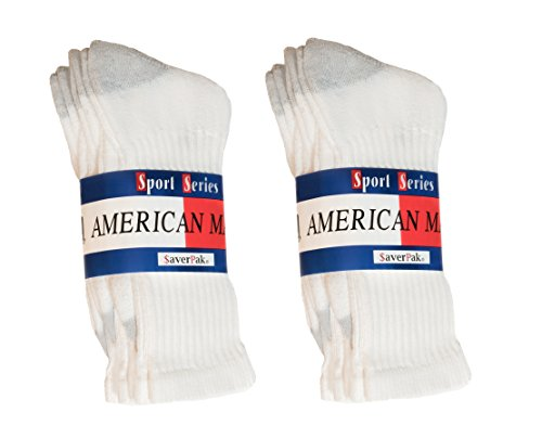 $averPak 6 Pack - American Made Cotton Blend Athletic Crew Socks 6 Pair White with Grey Heel and Toe (Sock Size 10-13)