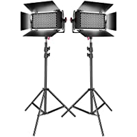 Neewer 2-Pack Dimmable Bi-color SMD LED Video Light and Stand Lighting Kit:384-piece LED Panel with U Bracket and Barndoor,3200-5600K,CRI 95+,78-inch Light Stand for YouTube Photography Video Shooting