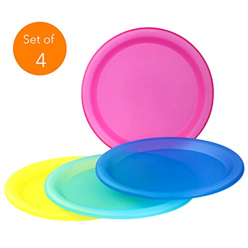 4 Pc Durable Reusable Plate Set - BPA-Free Sturdy Party Picnic Dinner Plates (Assorted Colors) (Plates Melamine Dot Polka)
