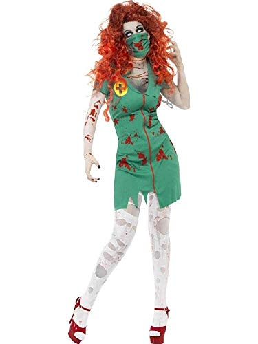 Fashion-Cos1 Adult Female Women Green Horror Blood Nurse Zombie Doctors Dress Stage Wear Horror Halloween Roleplay Makeup Cosplay Costume -