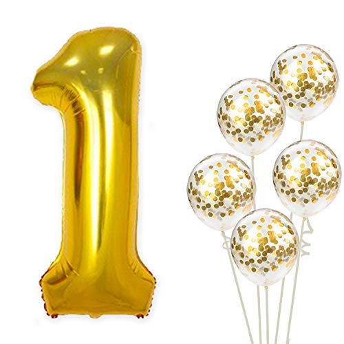 Large, Number 1 and Gold Confetti Balloon - 1st Birthday Party Decorations | First Party Supplies for Engagement, Anniversary, Winner, Baby Shower Wedding - 32 Foot Balloons String -