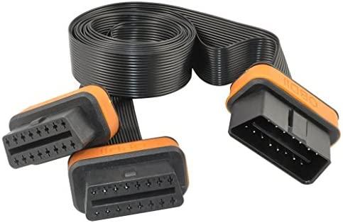 ODBII Cable Plano Y Divisor Macho a Dual Hembra 16-Pin Accesorios para Coche Autom/óvil