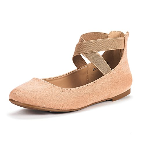 DREAM PAIRS Women's Sole_Stretchy Nude Fashion Elastic Ankle Straps Flats Shoes Size 5.5 M US