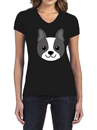 IngraveIT Black Cotton V Neck T-Shirt For Women