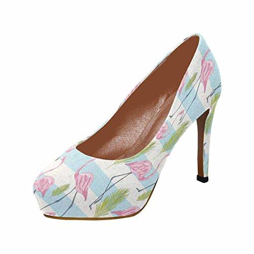 InterestPrint Womens Classic Fashion High Heel Platform Pumps Pink Flamingo Birds Chevron UAC1FyoD