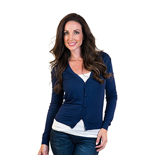 Agiato Women's Short Button Front Cardigan Navy Large