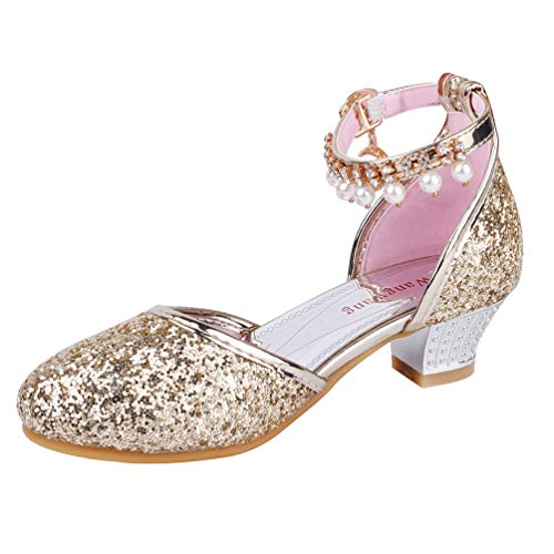 Wangwang Toddler Girls Dress Pumps Glitter Sequins Princess Low Heels Mary Jane Party Dance Shoes