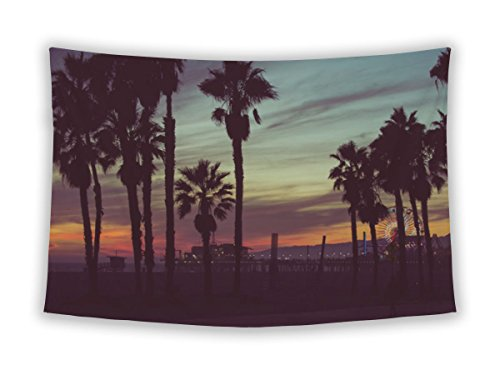 Gear New Wall Tapestry For Bedroom Hanging Art Decor College Dorm Bohemian, Sunset Colors With Palms Silhouettes In Santa Monica Los Angeles, - Santa Monica Fabric